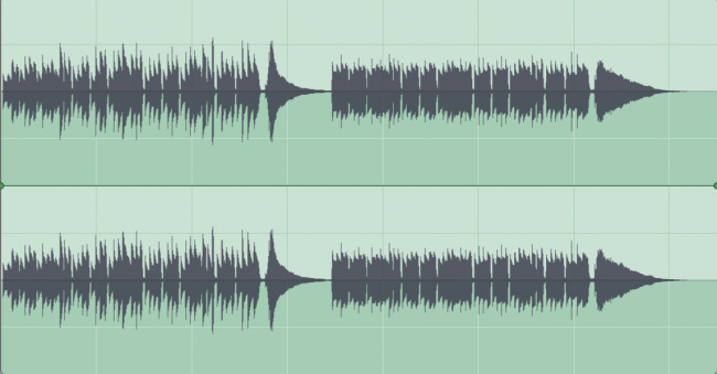 Waveform of Audio Example compressed then uncompressed