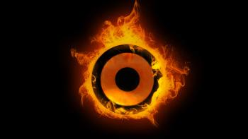 speaker on fire graphic