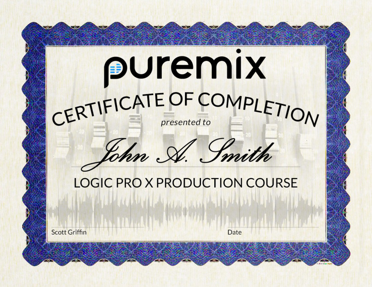 pureMix Producting in Logic Pro X Certificate